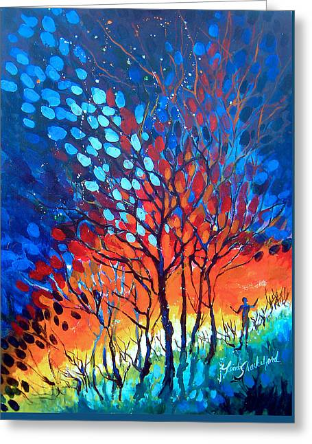 Greeting Card featuring the painting Horizons by Linda Shackelford