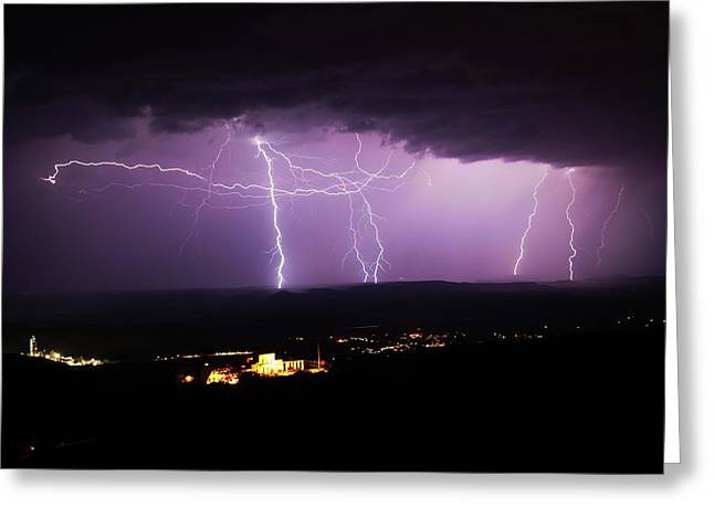 Greeting Card featuring the photograph Horizontal And Vertical Lightning by Ron Chilston