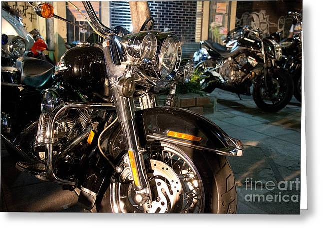 Horizontal Front View Of Fat Cruiser Motorcycle With Chrome Fork Greeting Card by Jason Rosette
