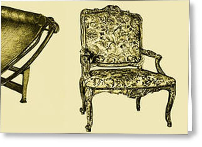 Horizontal Poster Of Chairs In Sepia Greeting Card