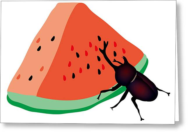 Horn Beetle Is Eating A Piece Of Red Watermelon Greeting Card