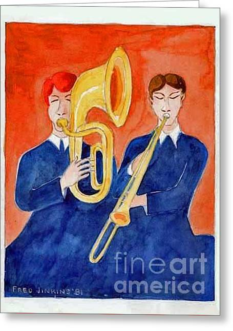 Horn Duo Greeting Card by Fred Jinkins