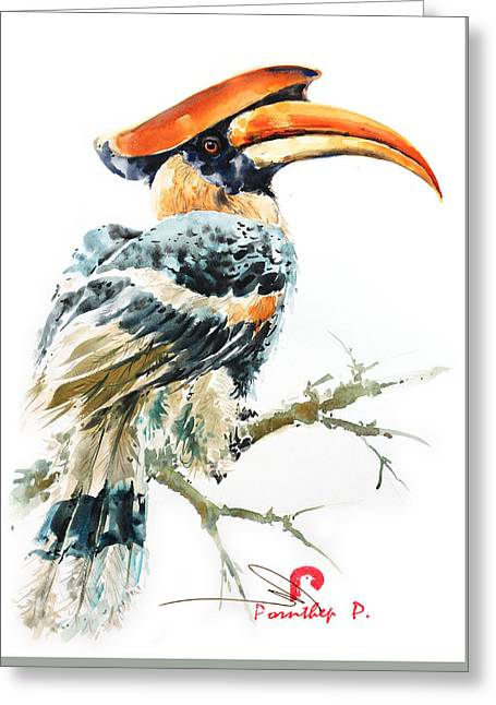 Hornbill Bird 2 Greeting Card by Pornthep Piriyasoranant