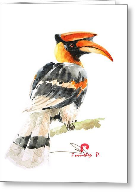 Hornbill Bird Greeting Card by Pornthep Piriyasoranant