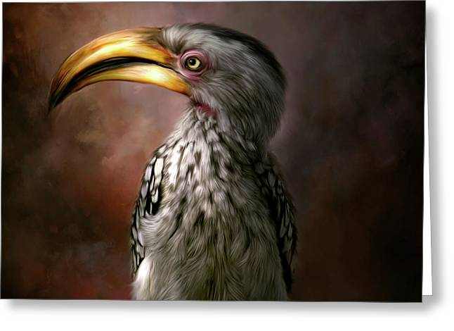 Hornbill Hand Painted Home Decor Greeting Card by Tara Lee Richardson
