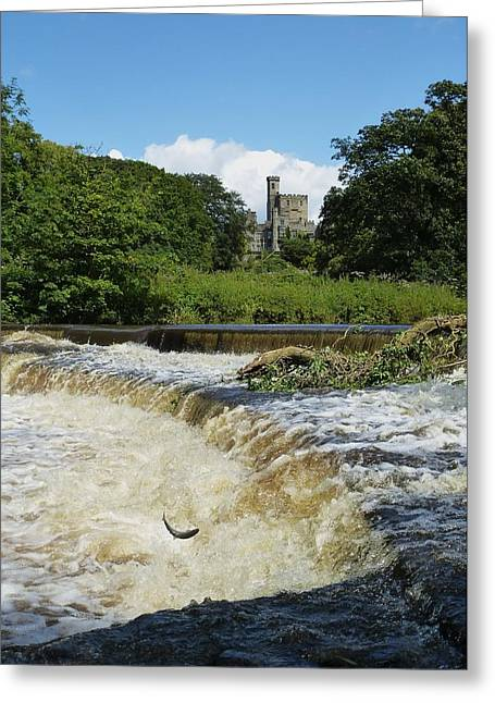Hornby Castle With Sea Trout Leaping  Greeting Card by Nigel Radcliffe