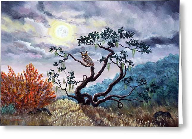Horned Owl On Moonlit Oak Tree Greeting Card