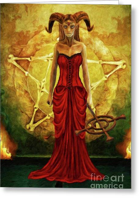 Horned Queen By Sarah Kirk Greeting Card by Sarah Kirk