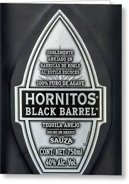 Hornitos Black Barrel Tequila Label Greeting Card by Norman Pogson
