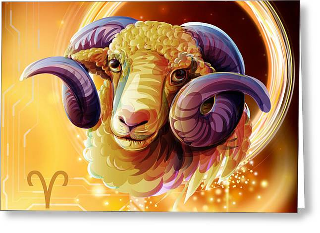 Horoscope Signs-aries Greeting Card by Bedros Awak