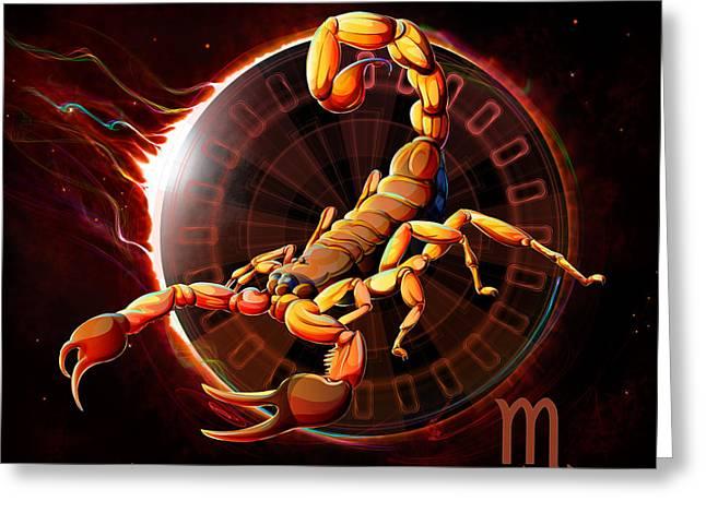 Horoscope Signs-scorpio Greeting Card by Bedros Awak