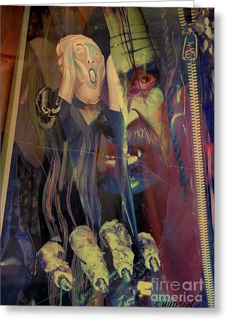horror fantasy art - The Green Scream Greeting Card by Sharon Hudson