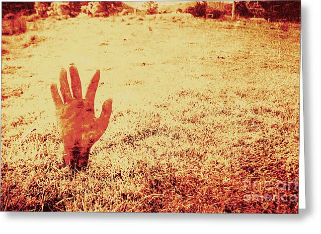 Horror Hand Of A Zombie Awakening Greeting Card by Jorgo Photography - Wall Art Gallery