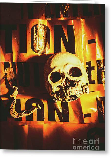Horror Skulls And Warning Tape Greeting Card by Jorgo Photography - Wall Art Gallery