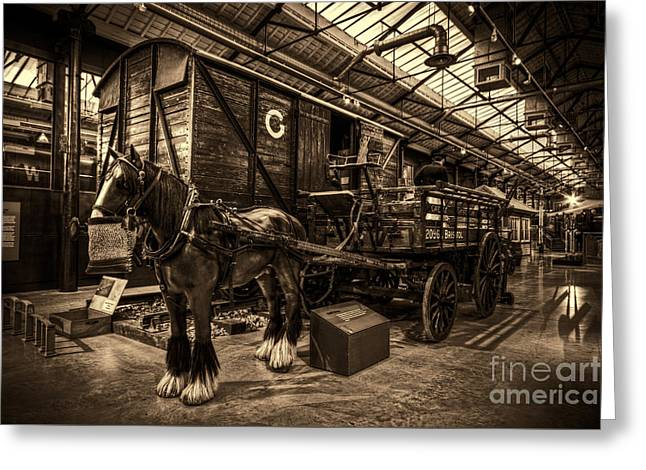 Horse And Cart Greeting Cards - Horse and Cart Loading Train Greeting Card by Clare Bambers