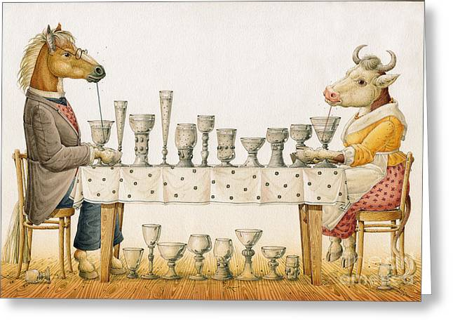 Horse And Cow Greeting Card by Kestutis Kasparavicius