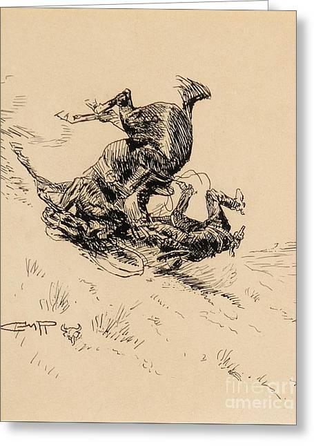 Horse And Cowboy Tumbling Downhill  Greeting Card