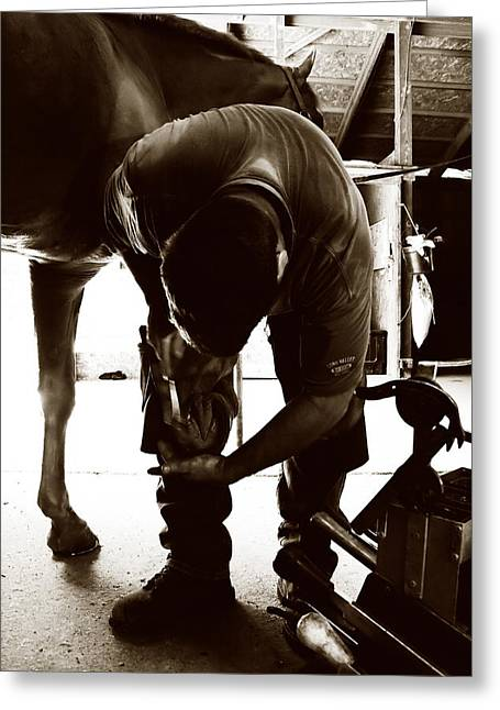 Greeting Card featuring the photograph Horse And Farrier by Angela Rath