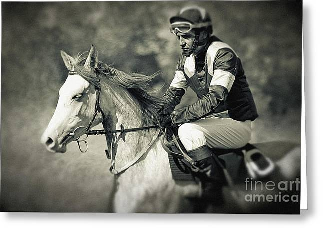 Horse And Jockey Greeting Card