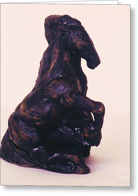 Horse And Man Sculpture 1991 Greeting Card by Jamey Balester