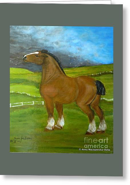 Horse And The Storm Greeting Card by Anna Folkartanna Maciejewska-Dyba