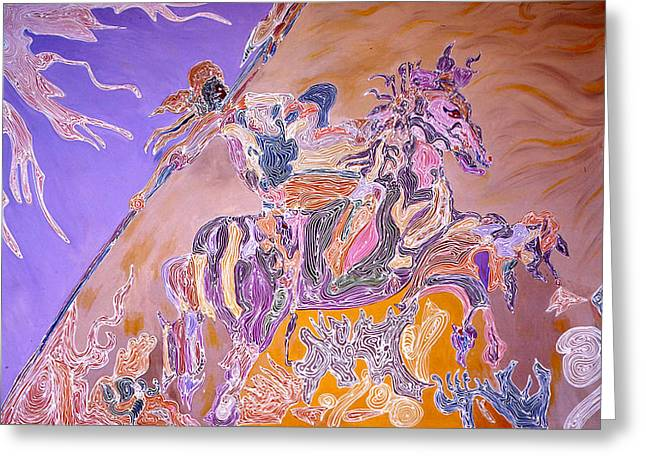 Greeting Card featuring the painting Horse Back Rider by Sima Amid Wewetzer