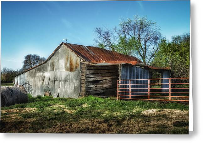 Horse Barn In Color Greeting Card by James Barber