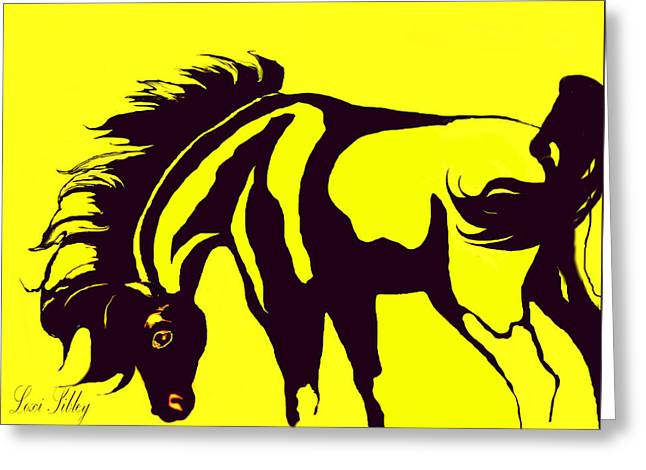 Horse-black And Yellow Greeting Card