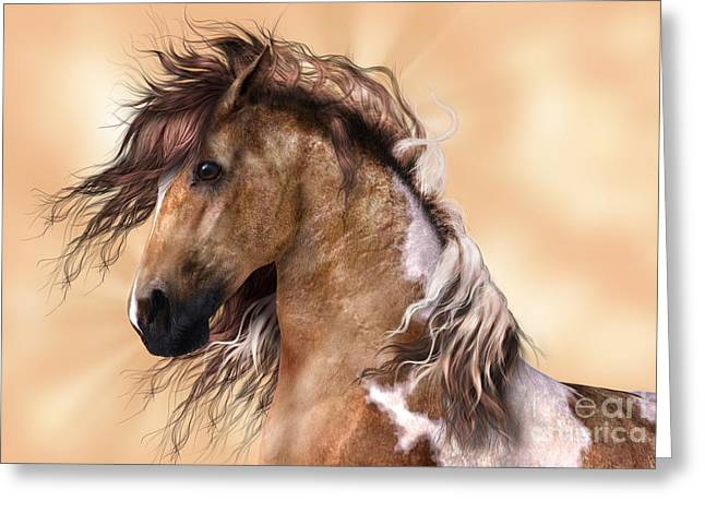 Horse Brown And White Paint Greeting Card
