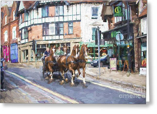 Horse Carriage In Lyndhurst Greeting Card by Avalon Fine Art Photography
