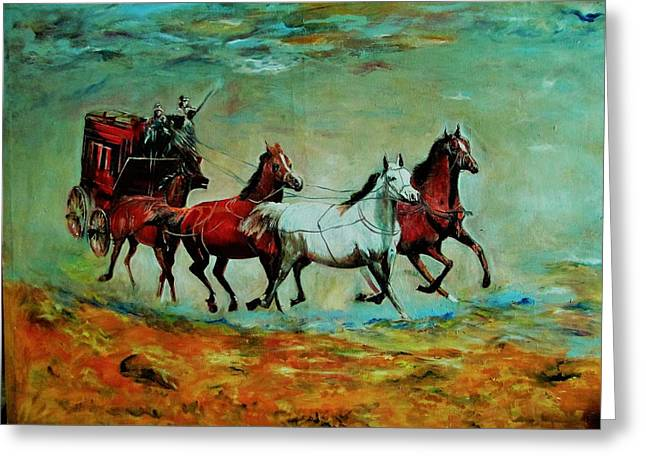 Horse Chariot Greeting Card