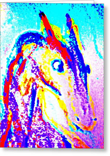 Horse Climbing The Wall Of Life  Greeting Card by Hilde Widerberg