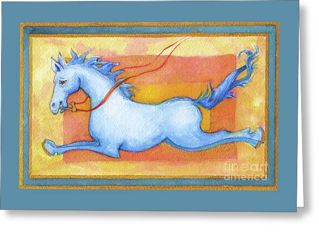 Greeting Card featuring the painting Horse Detail From H Medieval Alphabet Print by Lora Serra