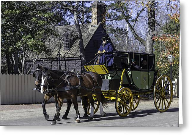 Horse Drawn Carriage In Colonial Williamsburg Greeting Card by Teresa Mucha