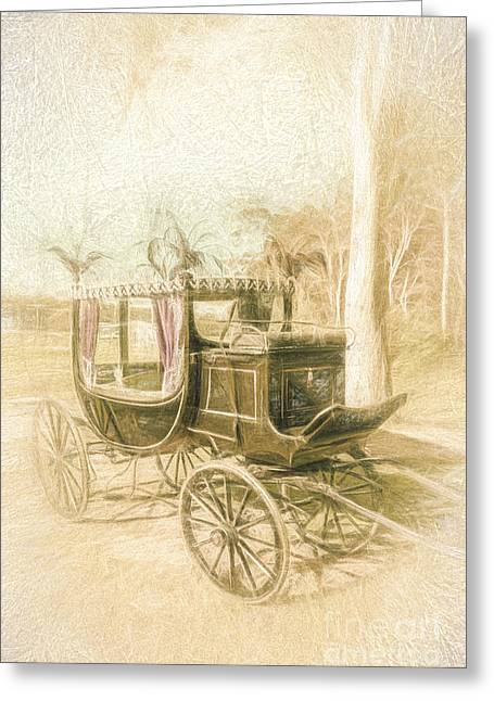 Horse Drawn Funeral Cart  Greeting Card
