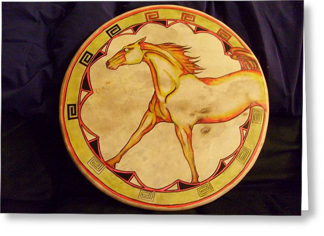 Horse Drum Greeting Card by Angelina Benson