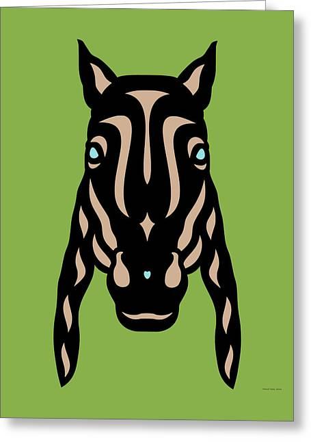 Horse Face Rick - Horse Pop Art - Greenery, Hazelnut, Island Paradise Blue Greeting Card