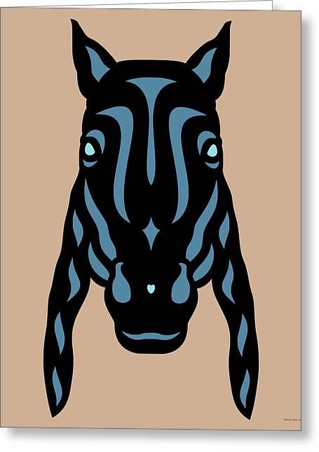 Horse Face Rick - Horse Pop Art - Hazelnut, Niagara Blue, Island Paradise Blue Greeting Card