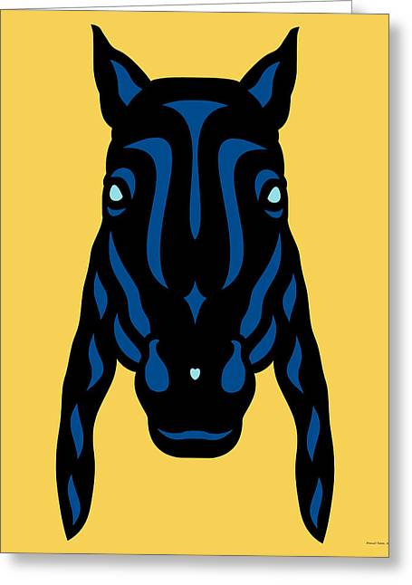 Horse Face Rick - Horse Pop Art - Primrose Yellow, Lapis Blue, Island Paradise Blue Greeting Card