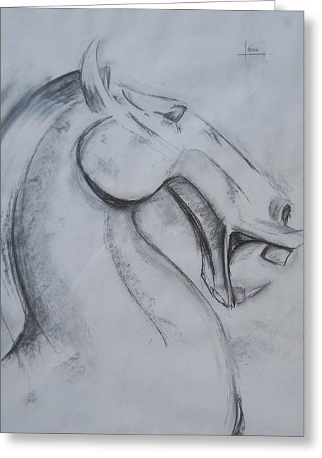 Horse Face Greeting Card by Victor Amor