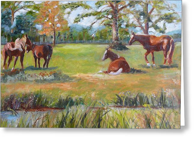 Horse Farm In Georgia Greeting Card