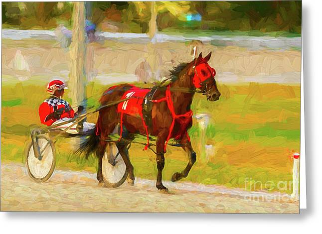Horse, Harness And Jockey Greeting Card by Les Palenik