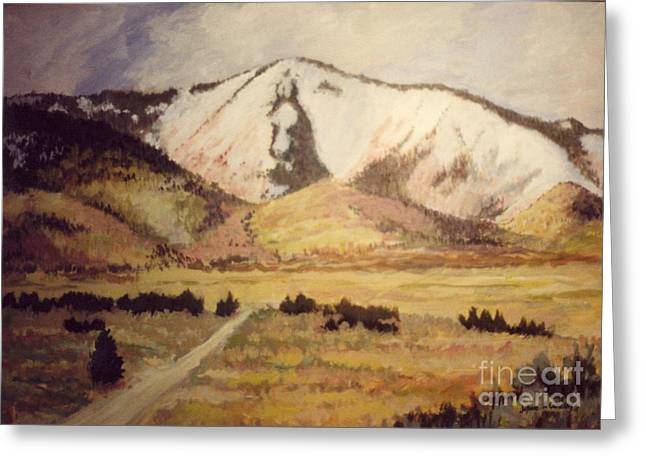 Horse Head Mountain Greeting Card by JoAnne Corpany