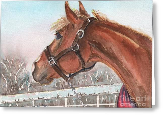 Horse Head Painting In Watercolor Greeting Card by Maria's Watercolor