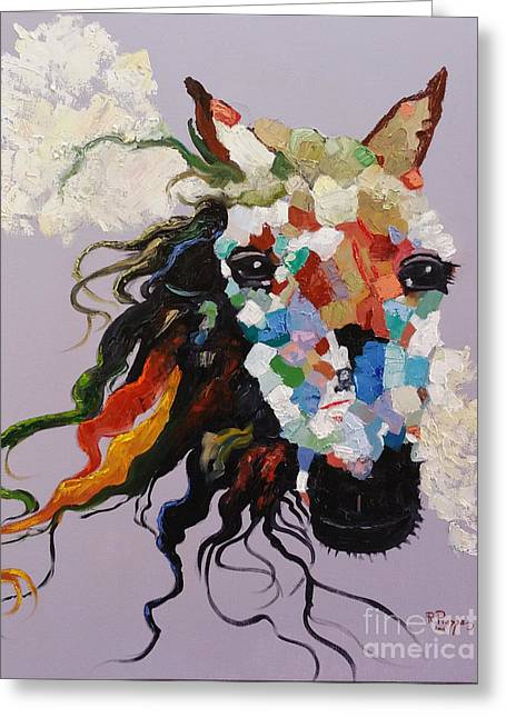 Greeting Card featuring the painting Puzzle Horse Head  by Rosario Piazza