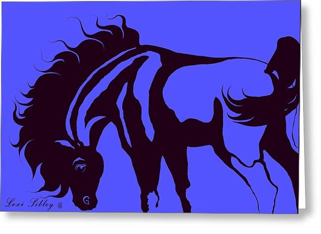 Horse In Blue And Black Greeting Card