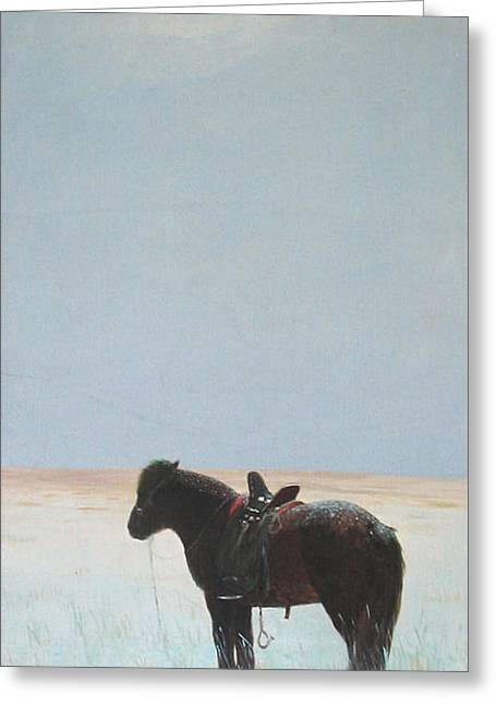 Horse In Snowfield  Greeting Card