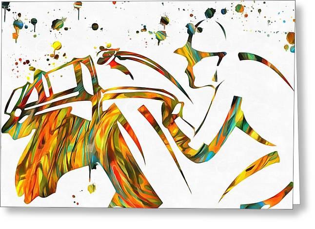 Horse Jockey Paint Splatter Greeting Card by Dan Sproul