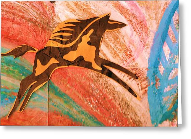 Horse Jumping Over Colors Greeting Card by Anne-Elizabeth Whiteway