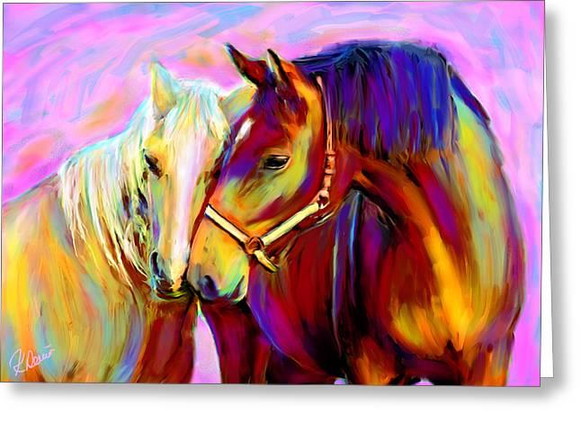 Horse Love Greeting Card by Karen Derrico